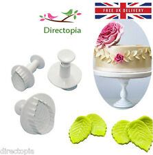 3 Piece Set Leaf Leaves Fondant Cake Cookies Icing Decorating Plunger Cutter