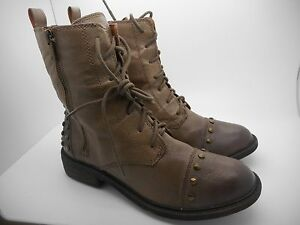 $ 139.00 New Lucky Brand Military TAUPE/Brown Leather Boots SZ 8.5/38.5