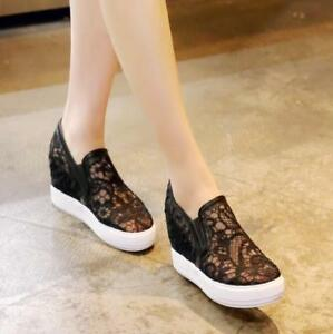 Women-039-s-Summer-Lace-Floral-Hidden-Wedge-Heels-Slip-On-Sneakers-Casual-Shoes