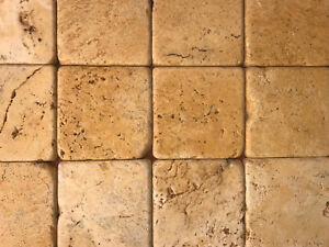 Piastrelle mosaico 10x10 in pietra travertino giallo persia per