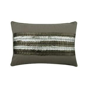 Designer 12x14 Inch Grey Linen Lumbar Pillow Cover Circles Dots Almost Silver Ebay