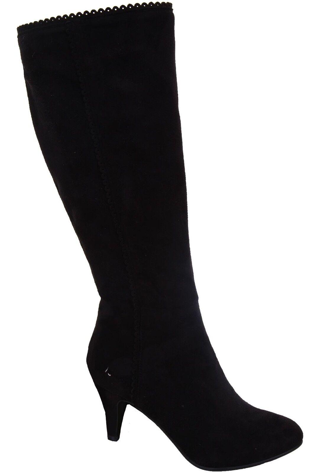 Para mujer de ante negro señaló la vieira recorte recorte recorte señoras Alta RODILLA botas TACONES  mejor marca