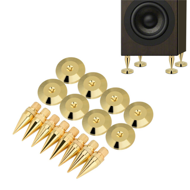 8x Speaker Cone Copper Spike Isolation Stand Feet 8x Base Pads Floor Discs  Mat