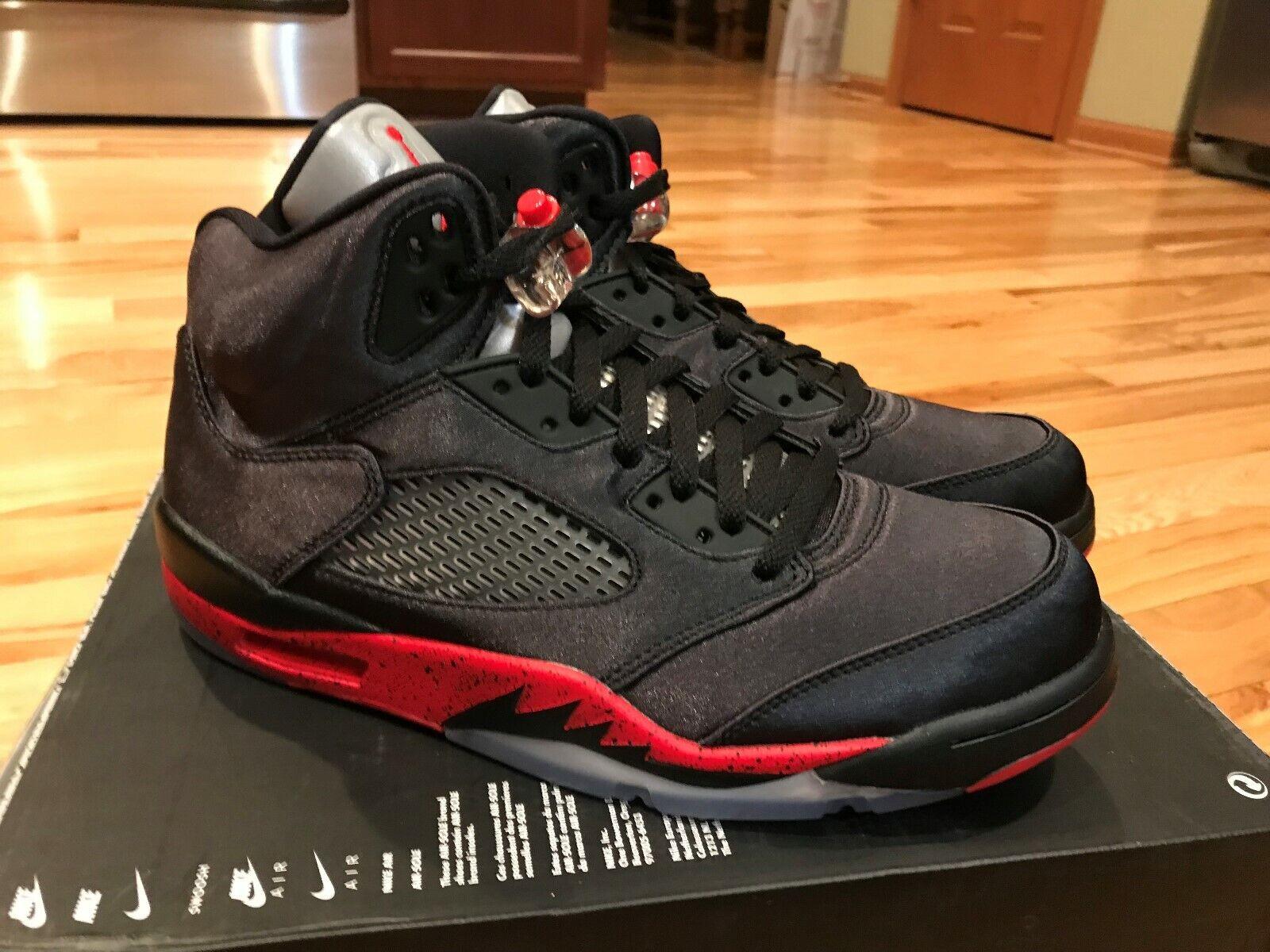 Nike Air Jordan 5 Retro Satin Bred Black Red 136027 006 Men's Size 12