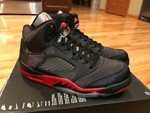 13057cad50462e Nike Air Jordan 5 Retro Satin Bred Black Red 136027 006 Men s Size 9 ...