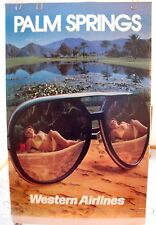 """WESTERN AIRLINES ORIGINAL POSTER """"Girl in Bikini with Sunglasses Palm Springs"""""""