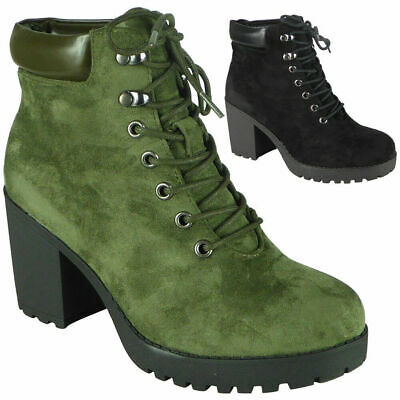 Womens Ankle Boots Ladies Casual Chunky