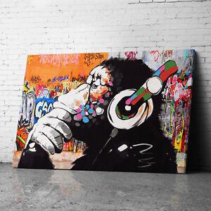 DJ Monkey Banksy Canvas Wall Art Prints Framed Large Graffiti Pictures