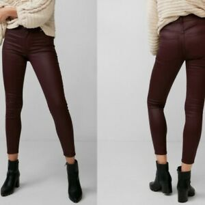 sold worldwide sale uk where to buy Details about EXPRESS 2 BURGUNDY COATED STRETCH HIGH RISE ANKLE LEGGING  Jeans leggings xs