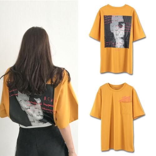 T-Shirt Top Sommer Rücken Gekritzel Buchstabe Aufdruck Frauen Einheitsgröße 1x