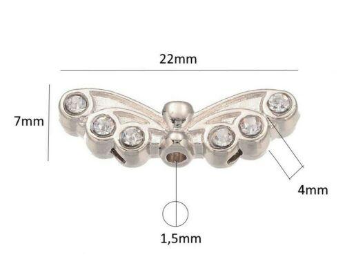 10 Flügel Engel Anhänger Mit Crystal Strasssteine 22mm Metallperlen Schmuck M452