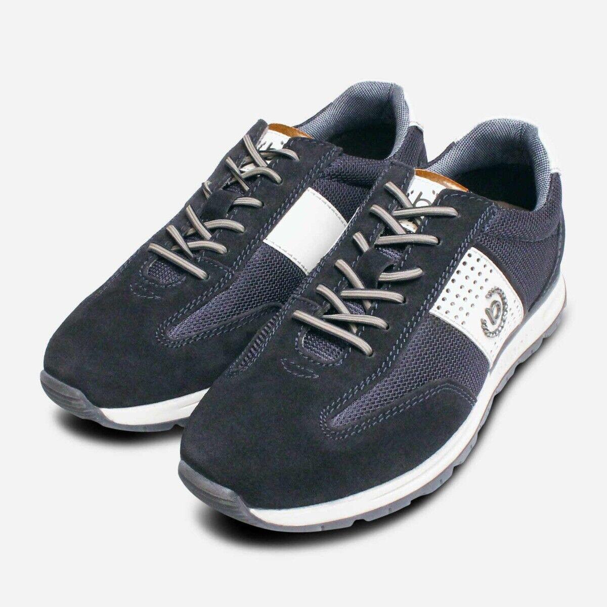 Bugatti Navy Blue Suede Designer Mens Training Shoes