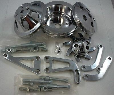 SB Chevy Machined Billet Pulley Kit W/ Alternator & Power Steering Bracket  LWP