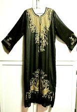 Used Ethnic Middle East Caftan Kaftan Abaya Black Long Sleeve Gold Embroidery- L