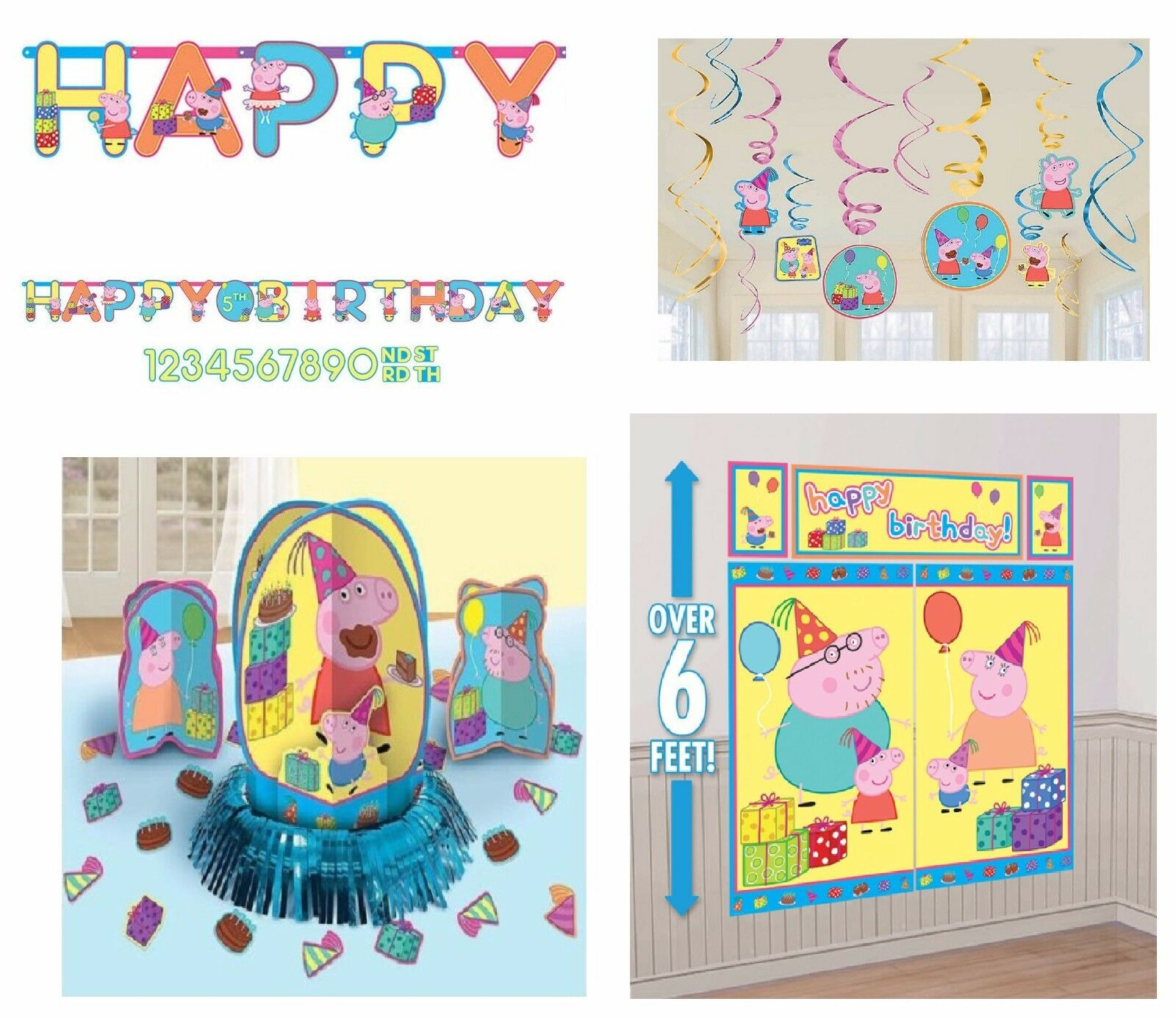 Peppa Pig Party Birthday Pack (Banner,Wall Poster, Swirls & Table ...