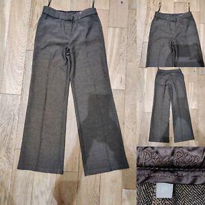 Women-039-s-PER-UNA-Smart-Trousers-Size-8-Regular-Brown-Black-Real-Leather-Trim-M-amp-S