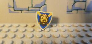 LEGO Light Gray Minifig Triangular Shield Lion Head Red /& White Background new