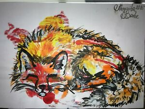 ORIGINAL-Malerei-PAINTING-zeichnung-drawing-psy-contemporary-ART-fuchs-fox-A4-om