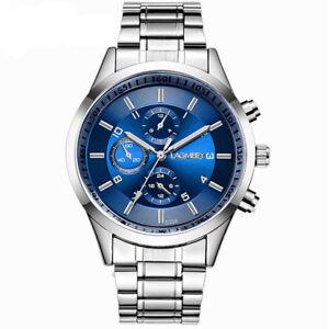 Luxury-Analog-Mens-Sport-Quartz-Wrist-Watch-Leather-Band-Stainless-Steel-Strap