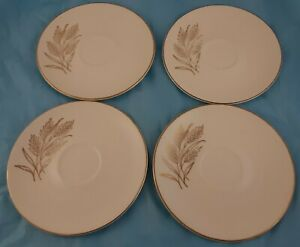 Set-of-4-Saucers-Wheat-Pattern-Unmarked-Vintage-Dinnerware-China
