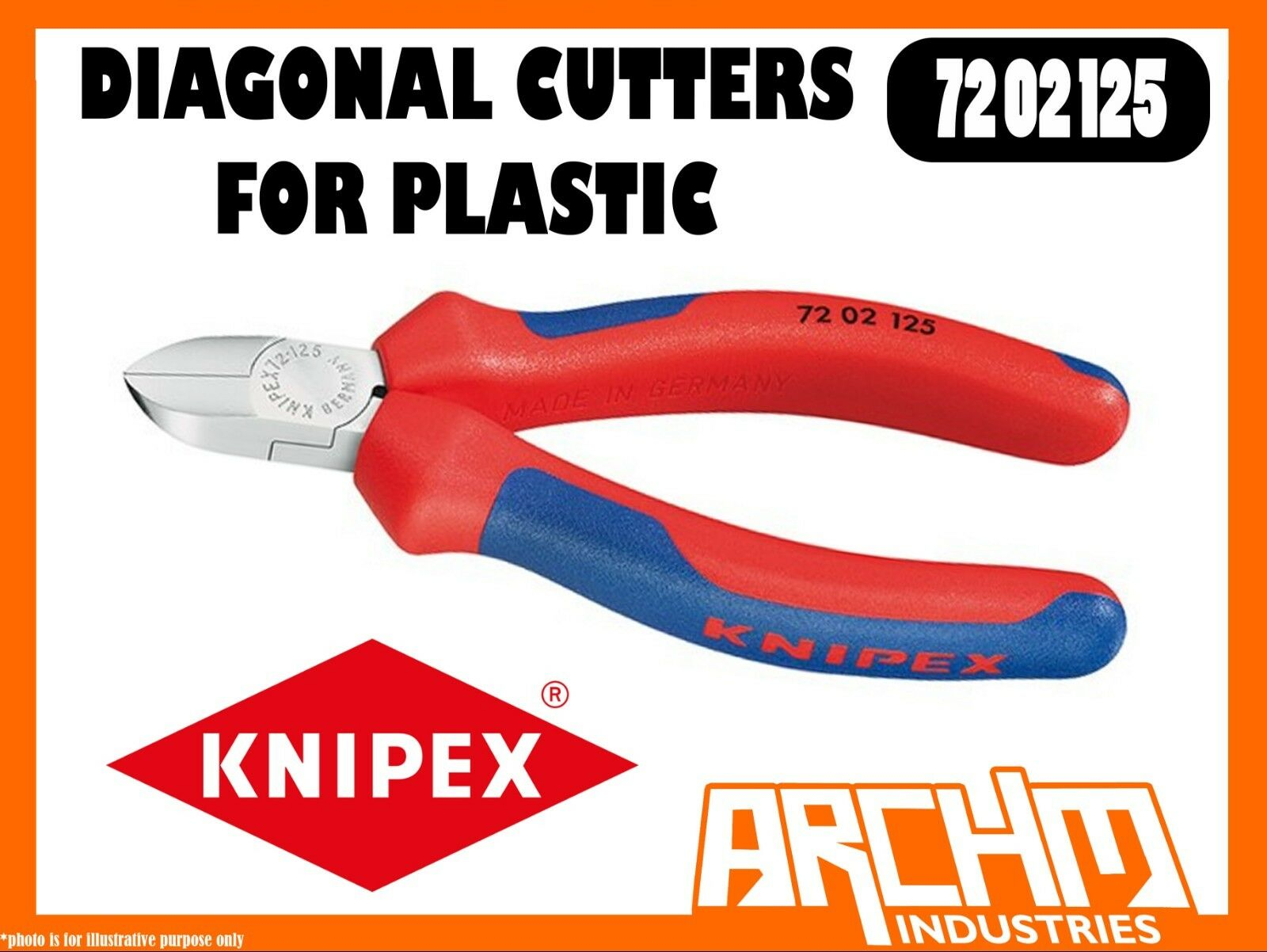 KNIPEX 7202125 - DIAGONAL CUTTERS FOR PLASTIC - 125MM - OPENING SPRING STEEL