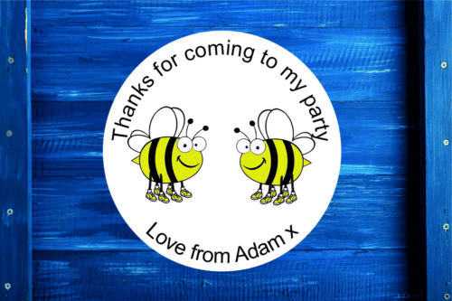 Label Seal, Personalised Funny Bees Birthday Party Gift Bag Sticker