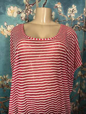 LANE BRYANT PLUS 18/20 RED/WHITE STRIPED SHEER OPEN BACK DOLMAN SLEEVE TUNIC TOP