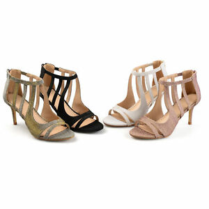f632bf95024e Brinley Co Womens Sofia Glitter Open toe Cut out Caged Heels New
