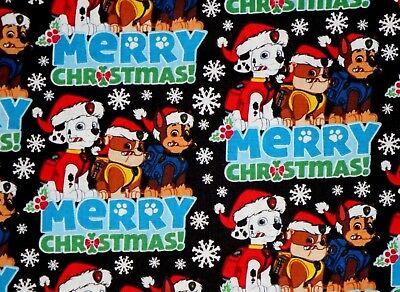 FAT QUARTER PAW PATROL MERRY CHRISTMAS FABRIC  MARSHALL  CHASE  RUBBLE COTTON FQ