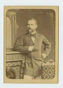 Vintage Cabinet Card English or French Aristocratic Handlebar Mustache Elegant