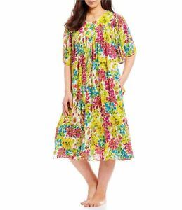 Go Softly Patio Plus Crinkled Floral Printed Patio Dress Size 1x