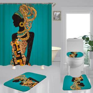 African Woman Print Shower Curtain Bath, African Bathroom Decor