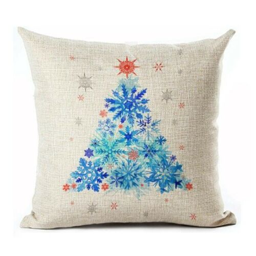 Flocon de neige en forme de sapin de Noël Joyeux Noël lin Throw Pillow Case Cush C5C6