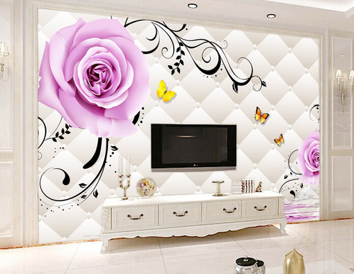 3D lila Petal Bloom Vines 08 Wall Paper Wall Print Decal Wall AJ WALLPAPER CA