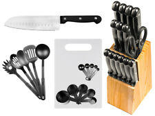 29 Pc Stainless Steel Kitchen Knives or Knife Set w/ Block & Kitchen Utensils