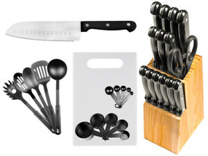 29-Pc-Stainless-Steel-Kitchen-Knives-or-Knife-Set-w-Block-amp-Kitchen-Utensils
