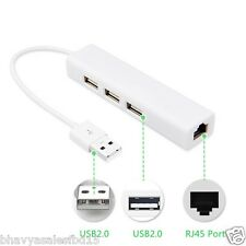 3Port USB HUB RJ45 Ethernet Network LAN Adapter 100Mbps fr Laptop Win8 MacOS