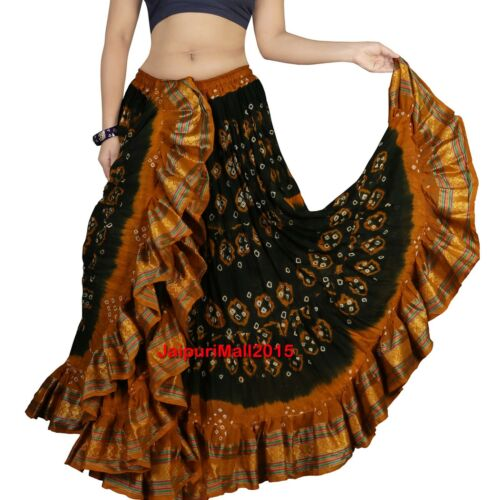 Dea Ats 25 Jupe Tribal Border Yard With Dance Cotton Skirt Gypsy RRFz7