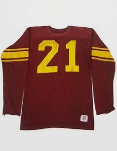 Vintage-60s-CHAMPION-Game-Used-Central-Michigan-Football-DURENE-L-S-Jersey-40-T1