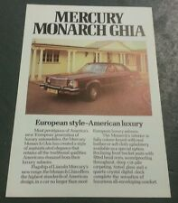 January 1977 MERCURY MONARCH GHIA Saloon - UK COLOUR LEAFLET BROCHURE