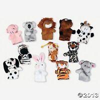 Plush Safari,zoo,farm Wild Animal Finger Puppets (lot Of 12)