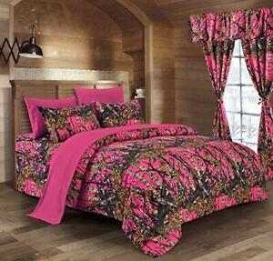 Hi-Viz-Hot-Pink-Camo-Conjunto-de-Hoja-6-piezas-de-ropa-de-cama-tamano-Queen-Camuflaje-no-Edredon