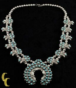 Navajo-Turquoise-Cluster-amp-Sterling-Silver-Naja-Necklace
