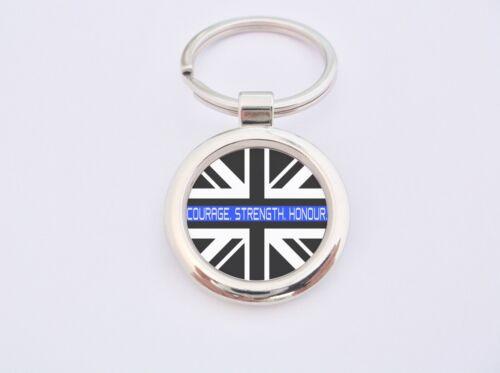 THIN BLUE LINE COURAGE STRENGTH HONOUR UK POLICE LAPEL PIN BADGE KEY FOB KEYRING