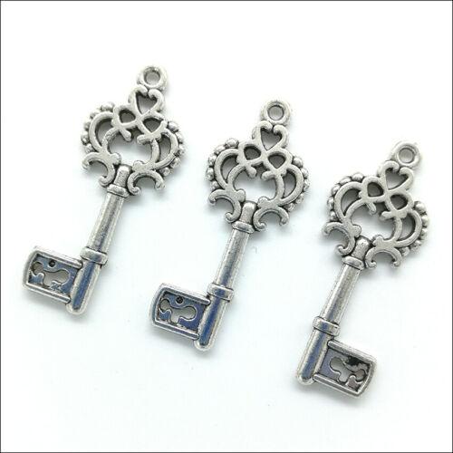 Lot 100pcs key Antique Silver Charms Pendants For Earrings Necklace Bracelet DIY
