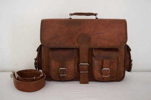 Messenger Vintage Leather Briefcase Laptop Crossbody Bag 16x12