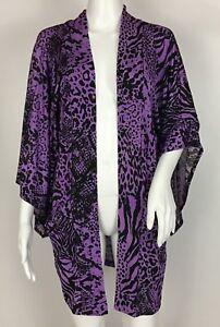 George-Simonton-Says-Animal-Print-Kimono-Cardigan-Open-Front-Purple-Size-L
