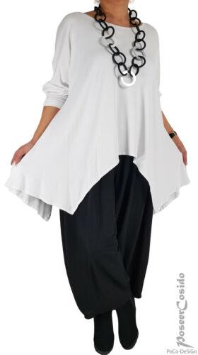 LAGENLOOK Überwurf Tunika Long-Shirt schwarz 44 46 48 50 52 54 56 58 XL-XXL-XXXL