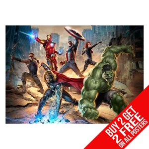 AVENGERS-ASSEMBLE-MARVEL-Poster-Arte-Impreso-A4-A3-Tamano-Buy-2-GET-ANY