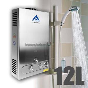chauffe eau instantan 12l min gaz lpg propane water heater avec douche en kit ebay. Black Bedroom Furniture Sets. Home Design Ideas